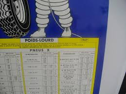 Old Plate Michelin Tire Pressure Chart 1967 France