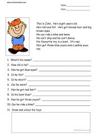 Worksheets Pages : Extraordinary Esl Beginner Reading Comprehension ...