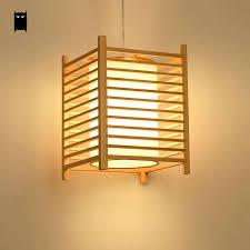 Asian Style Lighting Wood Tatami Pendant Light Fixutre Rustic Korean Asian Japanese Style Hanging Lamp Indoor Home Luminaria Dining Room Restaurant Lighting