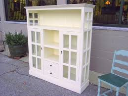 antique cottage chic painted cabinet cupboard bookcase glass doors and glass paneled sides