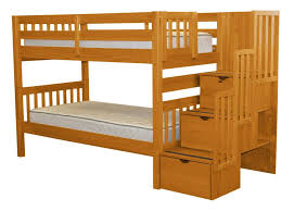 Bunk Beds Twin over Twin Stairway Honey Free Shipping