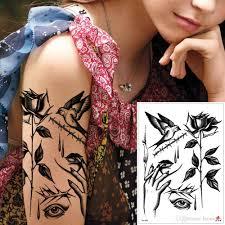 Waterproof Temporary Black Rose Flower Bird Body Art Tattoo Cool Fake Small Arm Hand Leg Neck Chest Decal Tattoo Sticker Design Beach Summer