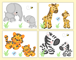 safari jungle animals nursery prints wall art baby boy neutral