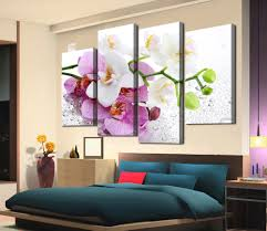 Living Room Canvas Paintings Aliexpresscom Buy New 4 Panels Printed Flowers On Canvas Wall