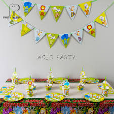 Jungle Theme Birthday Invitations Us 15 38 14 Off For 12kids 74pcs Jungle Safari Animals Theme Birthday Party Supplie Tableware Set Plate Straw Glass Tablecover Invitations Ect In