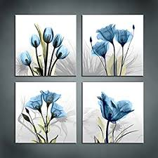 moyedecor art 4 panel elegant tulip flower canvas print wall art painting for living room decor and modern home decorations four 12x12in  on flower wall art prints with amazon wieco art blue flickering flower canvas prints wall art