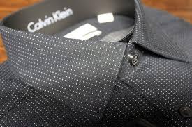 Black Designer Dress Shirt Mens Calvin Klein Slim Fit Designer Dress Shirt 15 32 33 Black White Dot