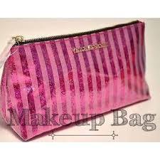victoria s secret pink glitter striped makeup bag m 536c42c0a652b1056b014a6a