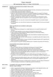 Acquisition Management Specialist Resume Samples Velvet Jobs