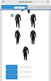 Manuheali I Size Chart 329 100 Aqua Lung Wetsuit Jumpsuit