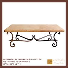 Iron And Stone Coffee Table Coffee Rectangular Table Iron Base Chocolate Finish Copper Natural