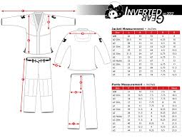 Inverted Gear Size Chart Inverted Gear Gi Measurements