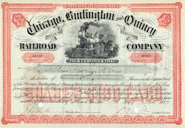 Stock Certificats File Chicago Burlington Quincy Railroad Stock Certificate 1887