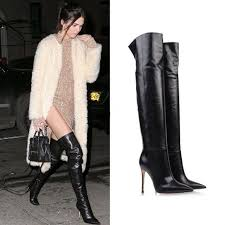 celebrity black soft leather sti high heels over the knee boots pointy long boots 2018 women
