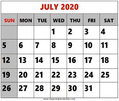 Calendar July 2020 Printable July 2020 Printable Calendars