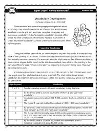 Child Vocabulary Development Chart Vocabulary Development Super Duper Publications