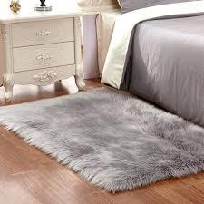 silver light gray animal design area rug carpet rectangle faux fur lighting alliance