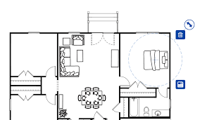 furniture floor plans. Click And Hold The Blue Arrow Icon To Rotate Piece Of Furniture. Once You Have Item Where Want It, Small Disk Save It. Furniture Floor Plans