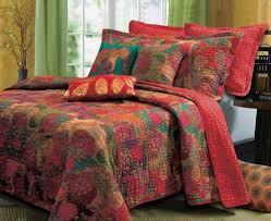 queen quilts set exotic red bohemian fl bedspread comforters bedding bed bag