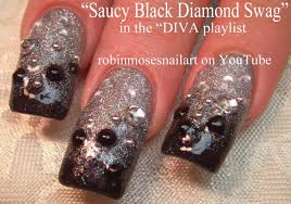 Silver and Black Glitter Gradient Nails | Gray Ombre Nail Art ...