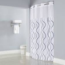 hookless hbh49wav01sl77 white with gray waves shower curtain with matching flat flex on rings