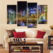 canvas painting 4 piece canvas art singapore city night hd printed home decor wall art poster picture for living room xa035c in painting calligraphy from