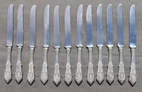 12 table knives silver shank wallace sterling silver rose point knives