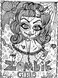 Small Picture Halloween zombie girl Halloween Coloring pages for adults
