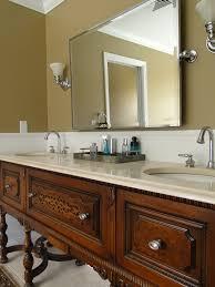 double sink vanity bathroom. repurposed antique buffet/sideboard turned bath double sink vanity bathroom