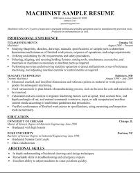 Machinist Resume Objective