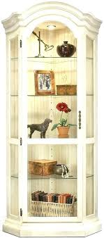 corner oak display cabinet with glass doors white curio black