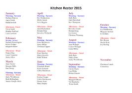 Kitchen Roster 2015