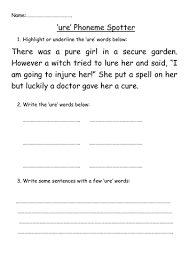 250 free phonics worksheets covering all 44 sounds, reading, spelling, sight words and sentences! Ure Phoneme Spotter Teaching Resources
