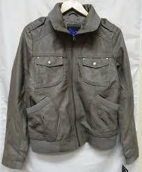bernardo faux leather bomer jacket women s large grey 804526