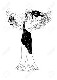 イラスト 天使の女性の肖像画を