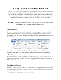 Making Citations In Microsoft Word 2010