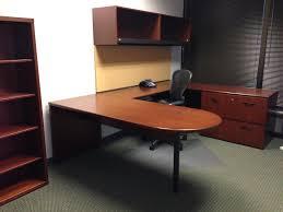 office desks ideas. Image Of: U Shaped Office Desk With Hutch Mocha Finish Desks Ideas