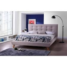 Home Life Cloth Light Beige Cream Linen Platform Bed With Slats Linen Platform Bed