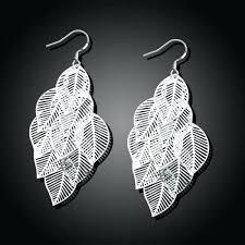 silver chandelier earrings sterling silver dangling leaves chandelier earrings silver chandelier earrings bloomingdales