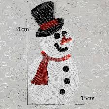 <b>Sequins Christmas Snowman</b> Patch Embroidered Sticker Patches ...