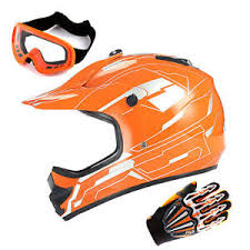 Details About Youth Motocross Helmet Kids Mx Bmx Atv Bike Storm Orange Mx Goggle Glove Bundle