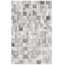 bursa global bazaar mondrian tile grey white cowhide rug 2x3 kathy kuo home