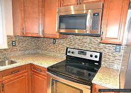 kitchen brown glass backsplash. Santa Cecilia Granite With Backsplash Brown Glass And Stone Mixed Tile Kitchen