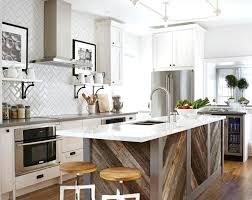 glass upper cabinets kitchen galley kitchen with island glossy concrete floor glass front upper cabinet blue