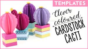 Clever Coloured Cardstock Cacti Template Paper Craft Download