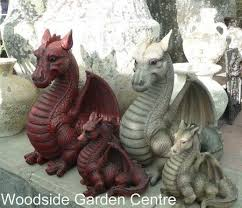 resin extra large red dragon garden