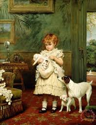 charles burton barber girl with dogs art print for canvasprintshere com