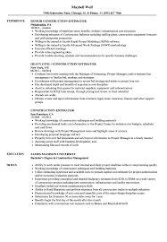 Construction Estimator Resume Sample Construction Estimator Resume Samples Velvet Jobs 4