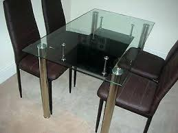 glass dining tables sets new glass dining kitchen table set faux leather 4 6 chairs furniture