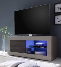 Meuble Tv Design 1 Porte Avec Clairage Coloris Beige Mat Weng